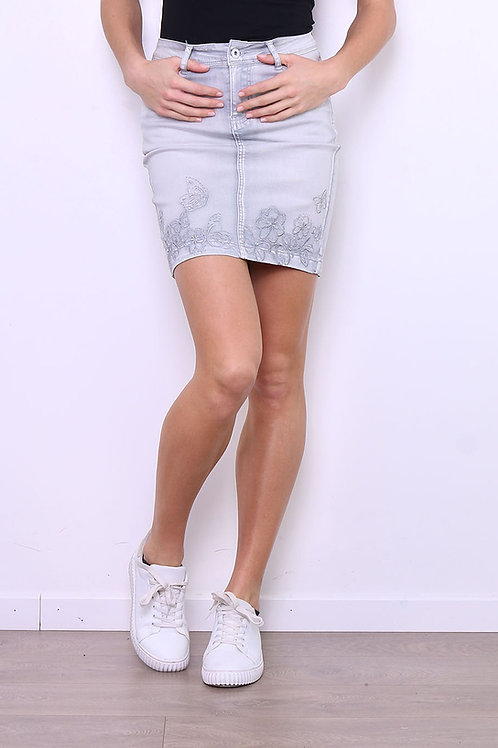SKIRT - JUPE BRODERIE COULEUR GRIS ON525GR