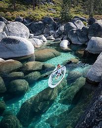 Jesswandering and Everchanginghorizon exploring Lake Tahoe in a Clear Kayak