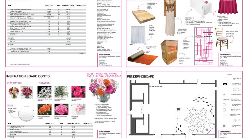 Design Formation Awards Event Plan
