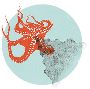 octopus in its ink illustration