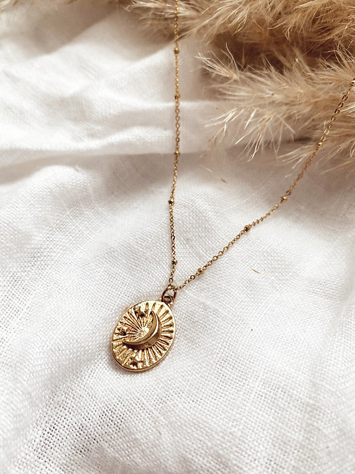 Gold Moon Lover Necklace