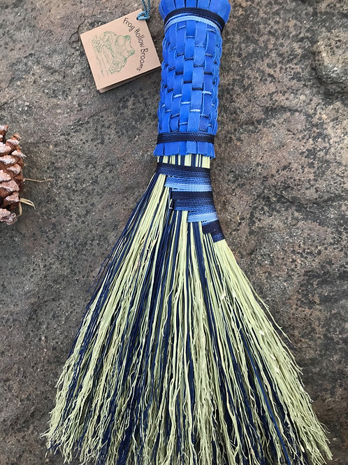 Deep Blue and Natural Handcrafted Turkey Wing Whisk Broom