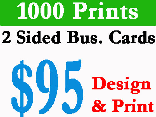1000 Business Cards Printed w/Design Included