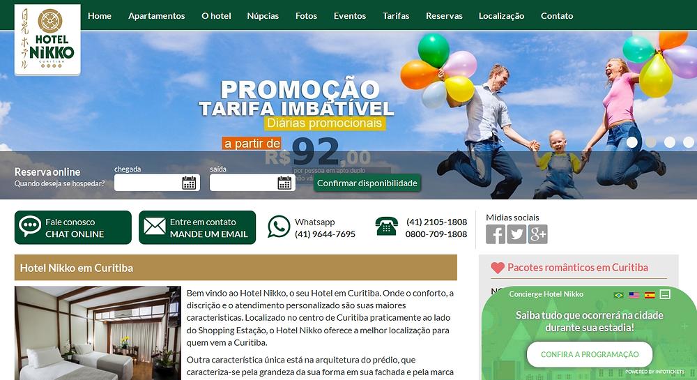 Hotel Nikko de Curitiba lança novo site com sistema de concierge para incentivar as reservas diretas!
