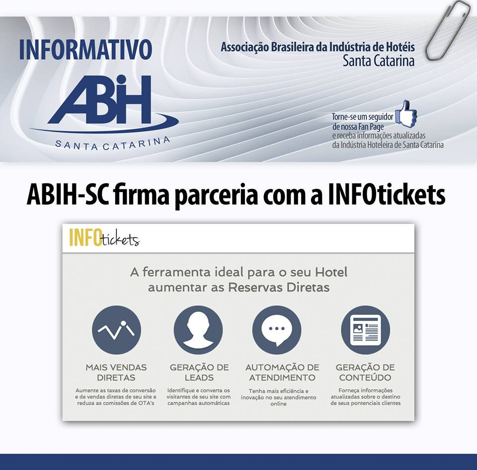 ABIH-SC e Infotickets firmam convênio