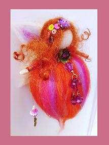 Handmade Custom Hanging Wool Fairy Vibrant Reds