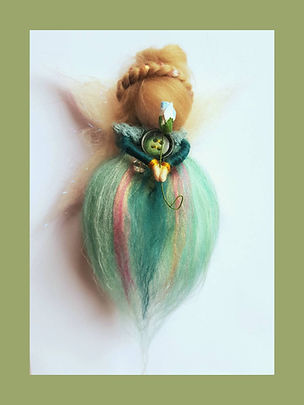 Handmade Green Blue Hanging Wool Fairy