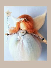 Hand-made Custom Hanging Wool Fairy Blues with hand-made Fairy-Wand