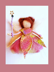 Hand-made Hanging Magical Wool Fairy with Felted Dress and Wand