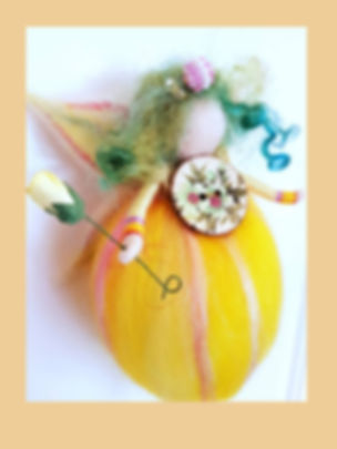 Handmade Hanging Wool Fairy Yellow Spring Colours