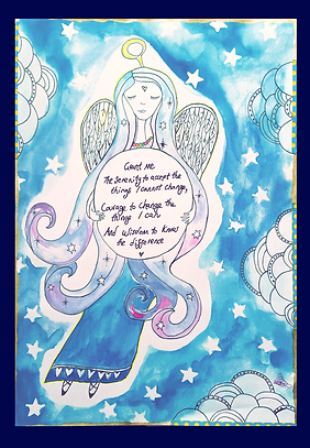 affirmation poster hand drawn serenity prayer angel and moon