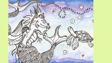 Hand-drawn Custom Illustration Sea Dragon Turtle Fairytale
