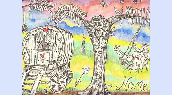 Handdrawn Illustration Fairytale Home