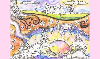 Hand-drawn custom Illustration Easter Story Fairytale