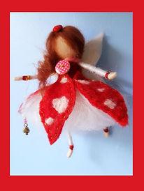 Hand-made Custom Hanging Wool Fairy Doll Toadstool