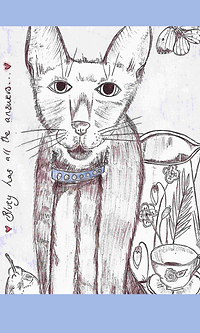 Hand-drawn Cat Illustration Art-work Bluey Has All the Answers