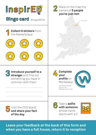 bingo activity card designed for InspirED