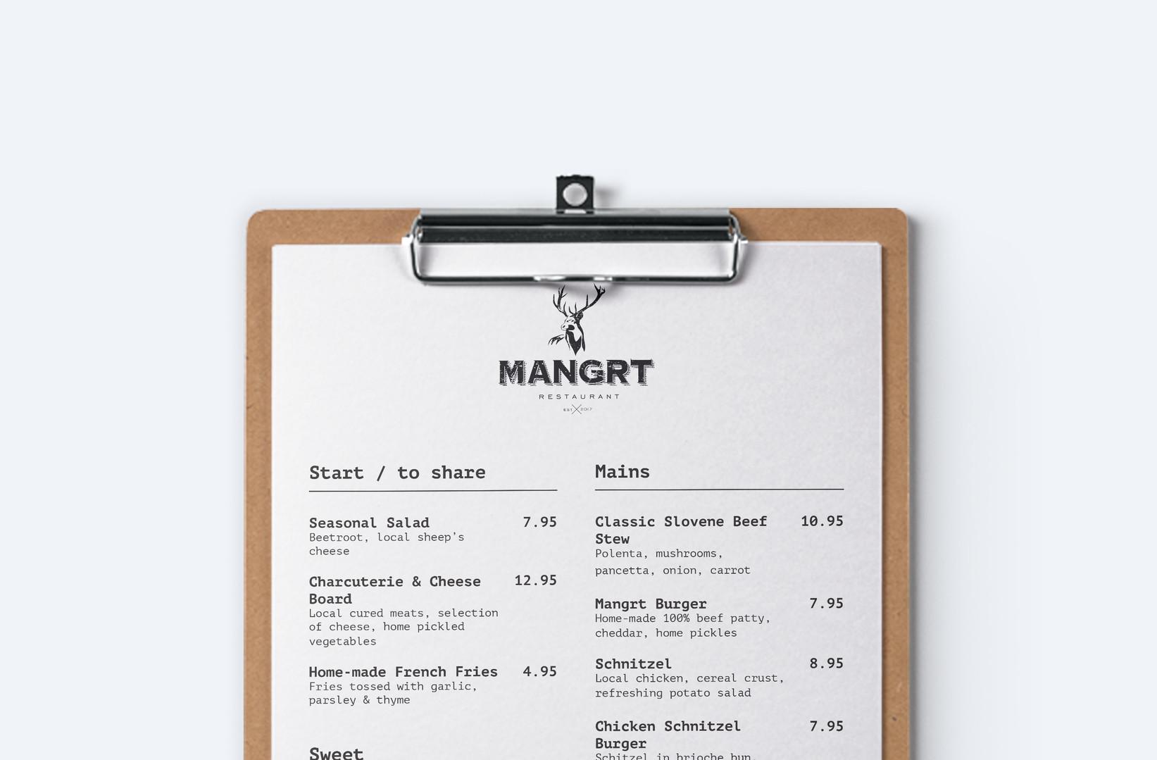 close-up of Mangrt restaurant menu