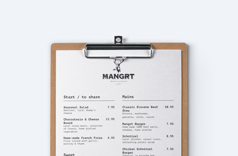 close-up of Mangrt restaurant menu