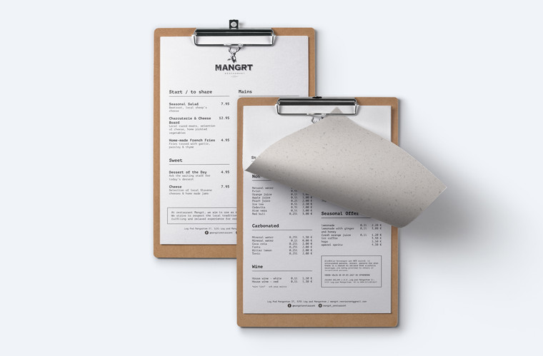 menu design of Mangrt restaurant