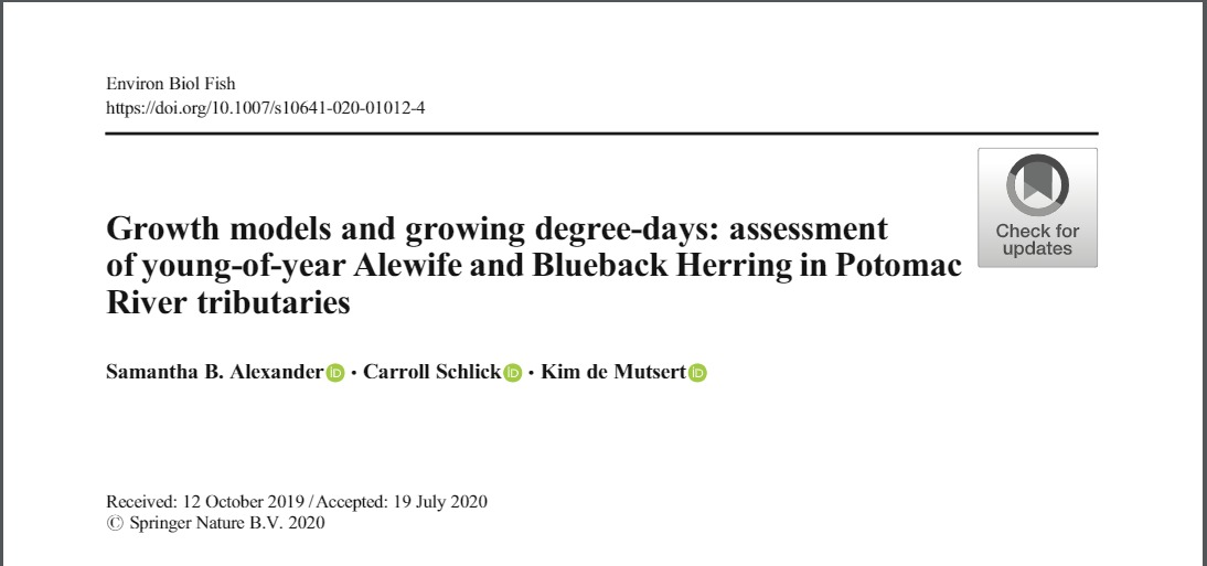 Recent manuscript published in Environmental Biology of Fishes