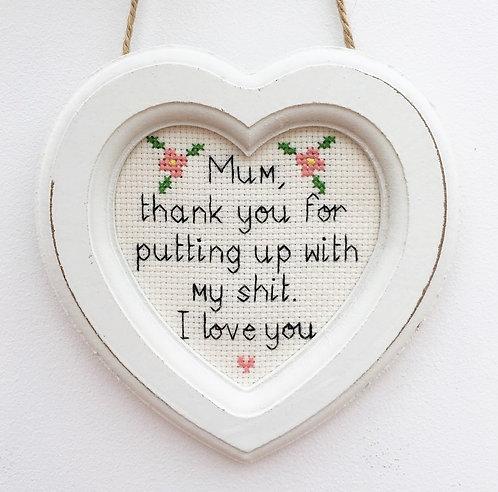 Thankyou Mum Heart Stitch