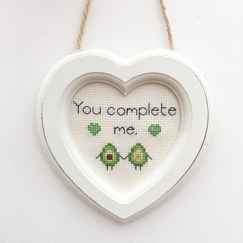 You Complete Me Avocado Heart Stitch