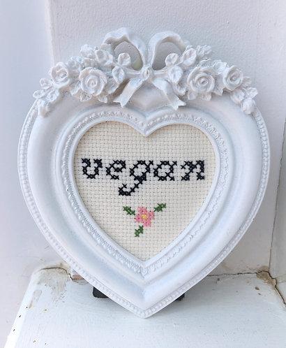 'Vegan' Pink Flower Stitch