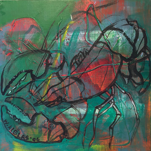 Green Lobster, acryl on linnen, 30x30cm