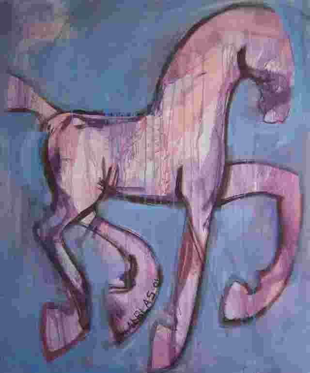 set paarden blauw