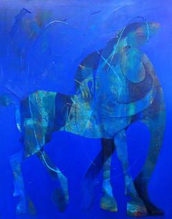 Samen in blauw 120 x150