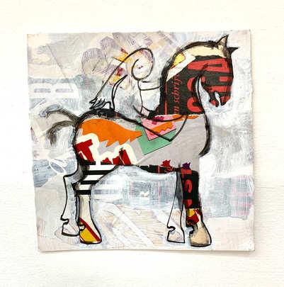 Paarden vriend, collage, 18 x 18cm, incl lijst, 95,- incl 9% btw