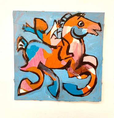 paardje, collage, 18 x 18cm, incl lijst, 100,- incl 9%btw