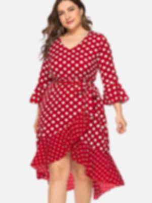 ZEZCLO plus size polka dot dress