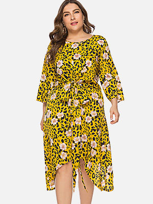 ZEZCLO plus size floral leopard print dress