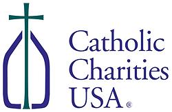 Green, purple and white Catholic Charities USA logo