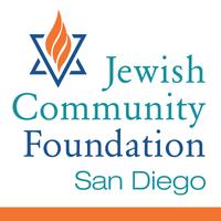 Orange, teal, blue and white logo for Jewish Community Foundation San Diego
