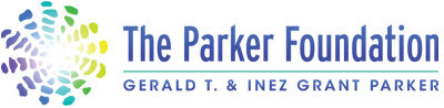 Purple, green, yellow, blue, and white logo for The Parker Foundation