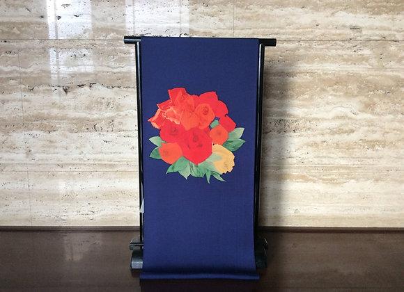 紺地に薔薇の花束 染名古屋帯