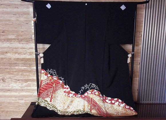 柳橋に箔散らし 黒留袖