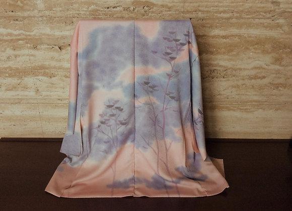 さや型地にピンク紫ぼかし 絵羽コート