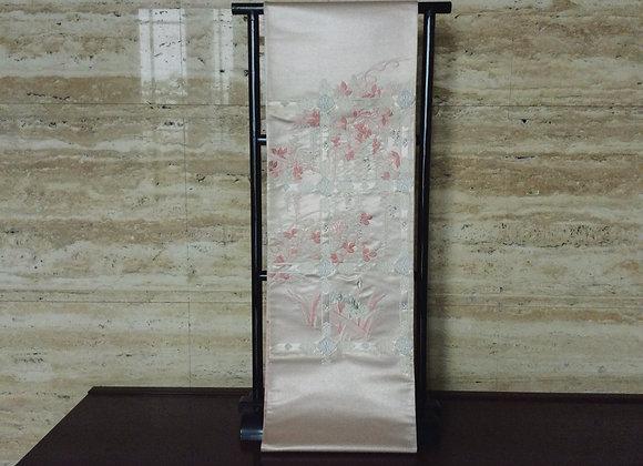 桜色地、藤棚 袋帯
