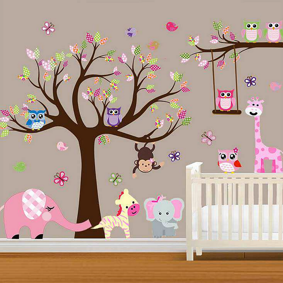 bohemian mama for boho babes mamas littles large baby our large pink woodland wall decal is perfect for your beby s nursery or little girl s playroom giraffes monkeys bears birds and a super cute elephant