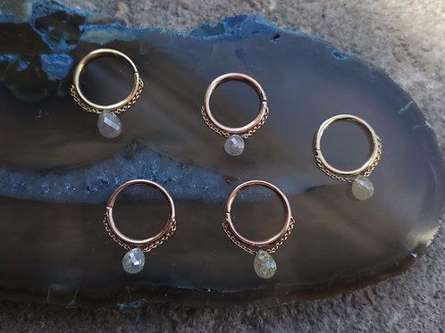 Pupil Hall Diamond Briolette Seam Ring