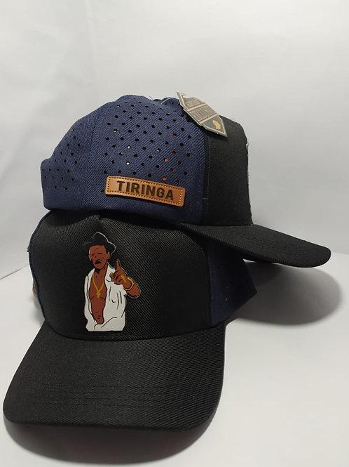 Boné do Tiringa- Preto com azul com lateral perfurada a laser