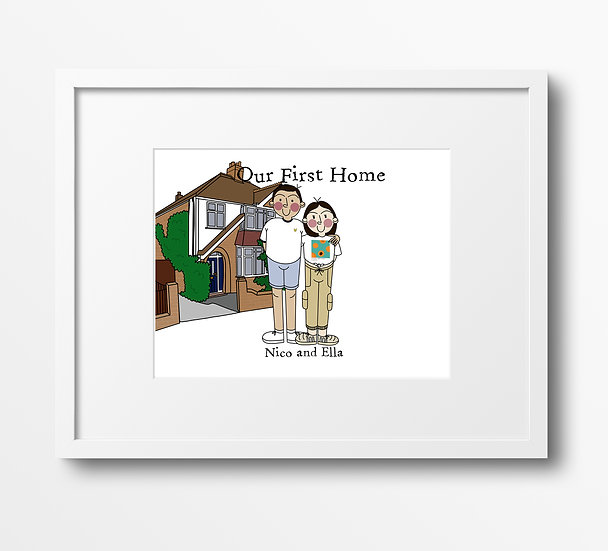 Custom New Home Family Portrait Illustration