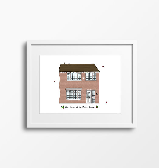 A4 Christmas Home or Building Illustration