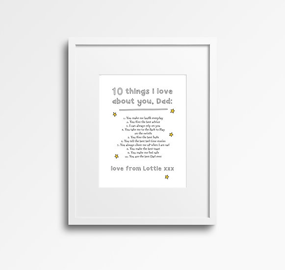 'Things I love About' Personalised List Print