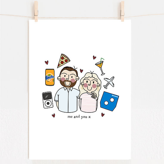 Custom Couples Favourite Things Portrait Illustration