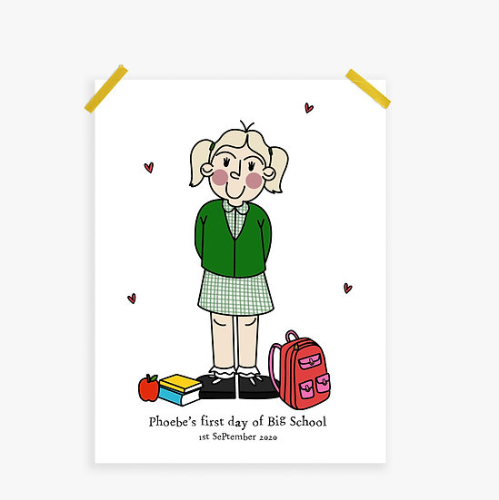 Custom First Day of School Illustrated Portrait